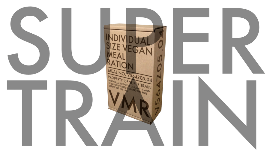 [Image: Super Train – Vegan Meals by @dansturm - Super Train is coming. Eat up.