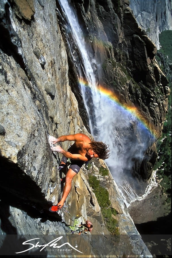 [Image: Yosemite Rock Climbing Photography 1001 by @shawnreeder - Just got a request for an old image of mine so I reprocessed an old scan ~ Sean Jones climbing over Ribbon Falls #Yosemite on Propic]