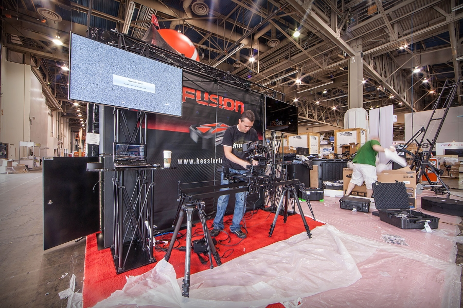 [Image: NAB 2012 by @PrestonKanak - @erickessler & @chrisbeller setting up the @kesslercrane booth at NAB!  Only one day away!!! (booth#9848)  on Propic]