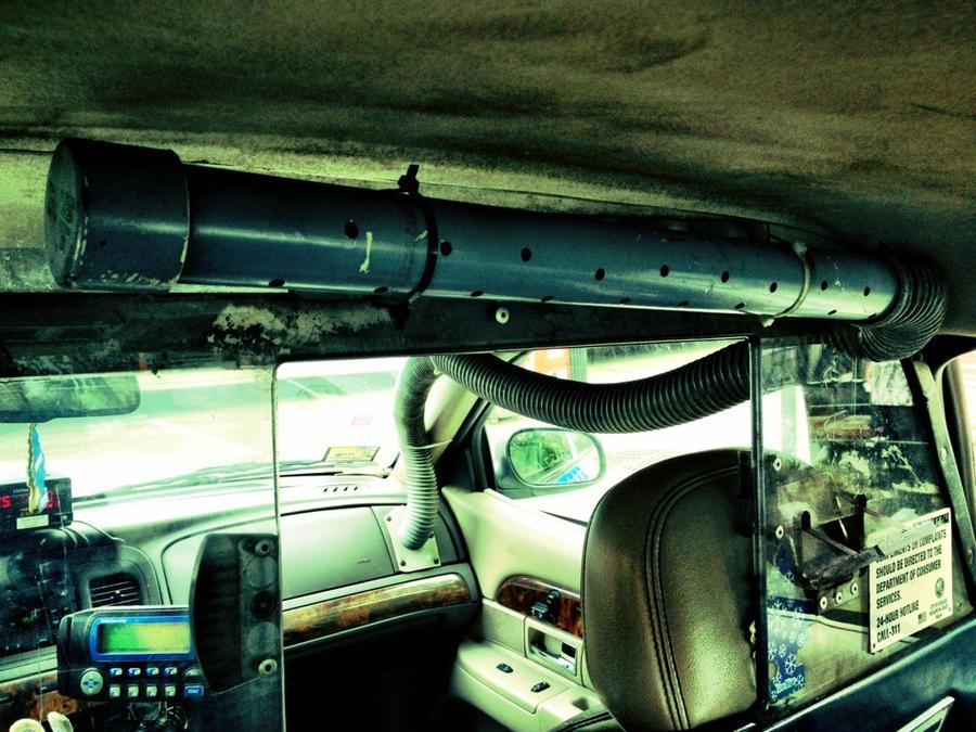 "[Image: Image by @vincentlaforet - Inside a Chicago cab - AC vent reminds me all too much of Terry Gilliam's film ""Brazil"" with all those vents w Deniro on Propic]"