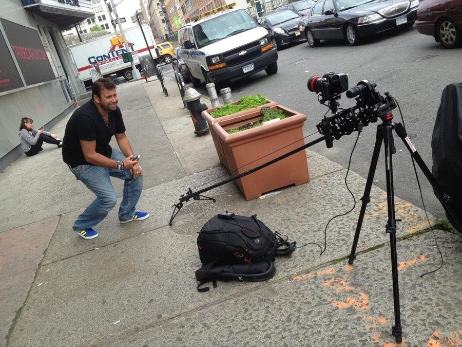 [Image: Image by @MNS1974 - @PhilipBloom checking out my @KesslerCrane shuttle pod mini outside of Tribeca Cinema on Propic]