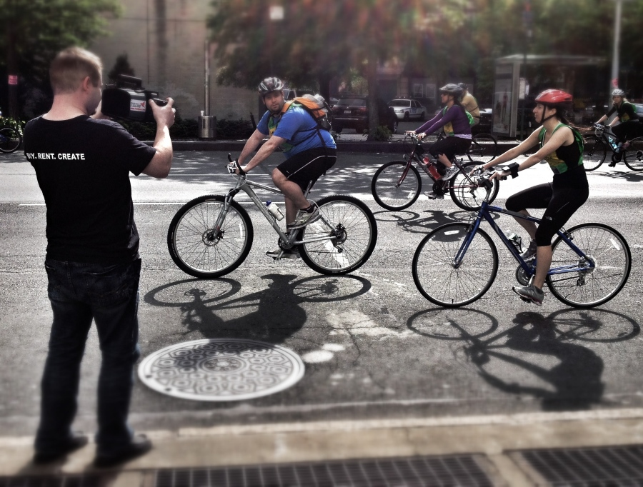 [Image: Photo by @MissHBomb - NYC Bike Tour 2012 - @MNS1974 getting high speed w/ @TS3Cine on Propic]