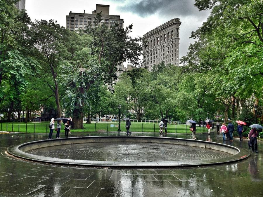[Image: Rainy Day in Madison Square Park by @LordOfVisions - A bit of rain doesn't stop New Yorkers from enjoying Madison Square Park at lunch time. on Propic]