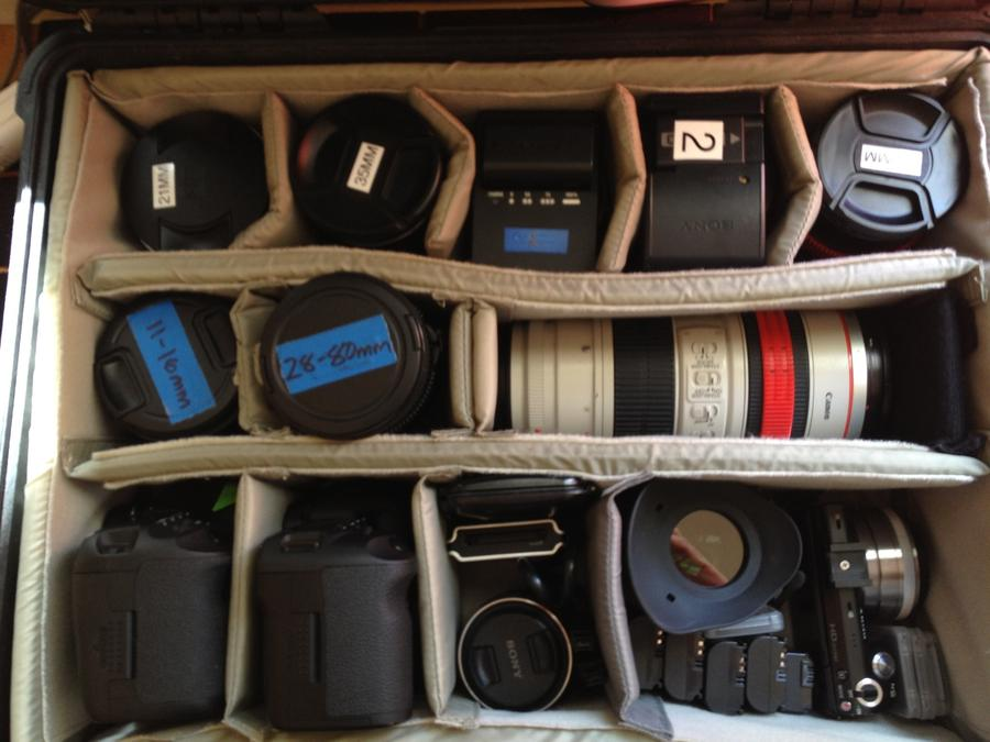 [Image: Image by @goforjared - 1 case 3 cameras. Got to love #DSLR gigs! on Propic]