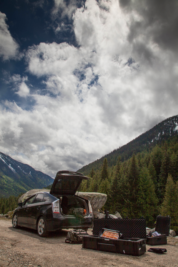 [Image: Kokanee Creek by @PrestonKanak - @Toyota #Prius packed to the brim with @kesslercrane equipment.  Setting up a shot at Kokanee Creek with @nilssorensen. on Propic]