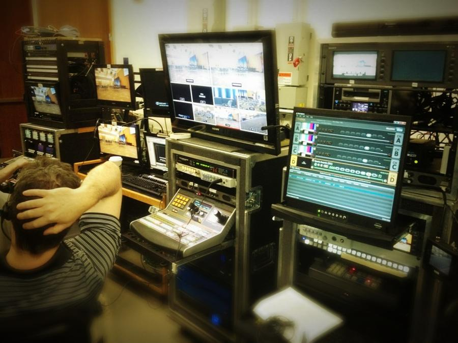 [Image: Image by @tomguilmette - Fly-pack mobile control room set up in hallway… on Propic]