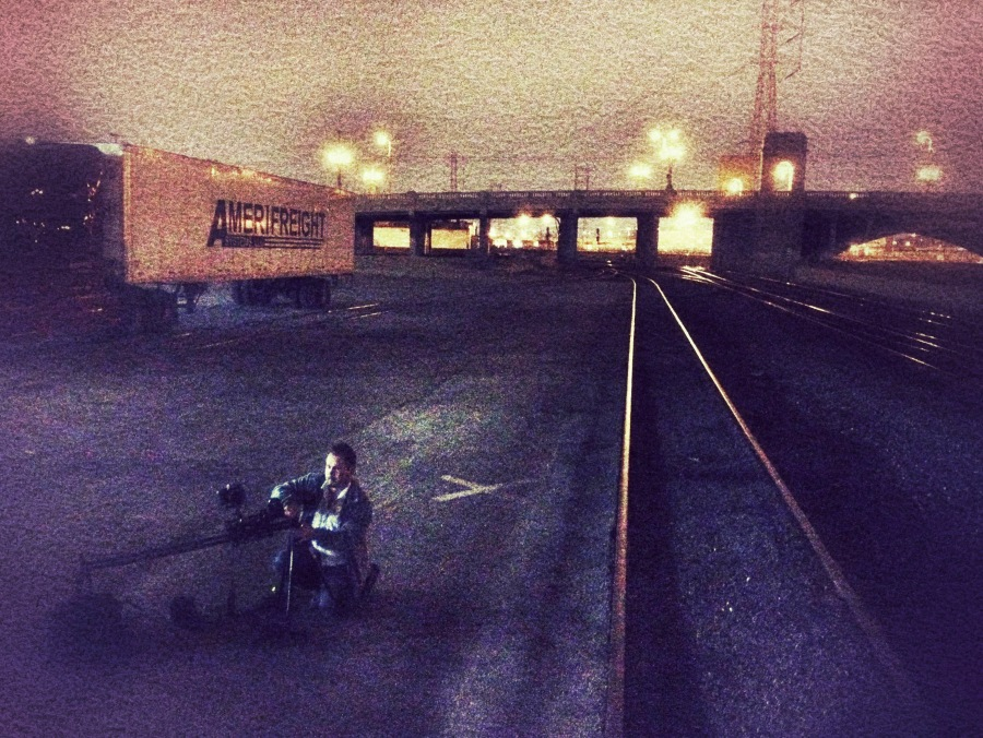 [Image: Photo by @MissHBomb - In LA, @MNS1974 setting up an #OperationOrigami shoot on the train tracks. on Propic]