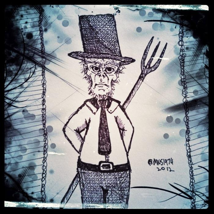 [Image: My odd sketch of the day: Tophat Monkey Pitchfork Shirt & Tie by @MNS1974 - My odd sketch of the day: Tophat Monkey Pitchfork Shirt & Tie on Propic]