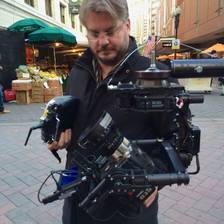 [Image: Vince @VincentLaforet checking out the MoVI we hard mounted to a Jimmy Jib by MNS1974]
