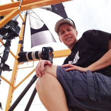 [Image: I'm on a scaffold doing time lapse photography for the 5 Points Jazz Festival in Denver Colorado.]